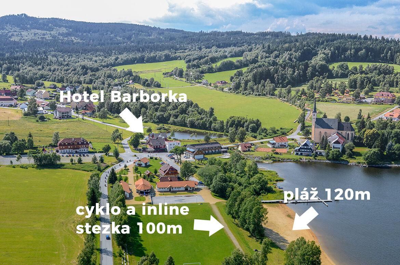 Ideální poloha hotelu Barborka